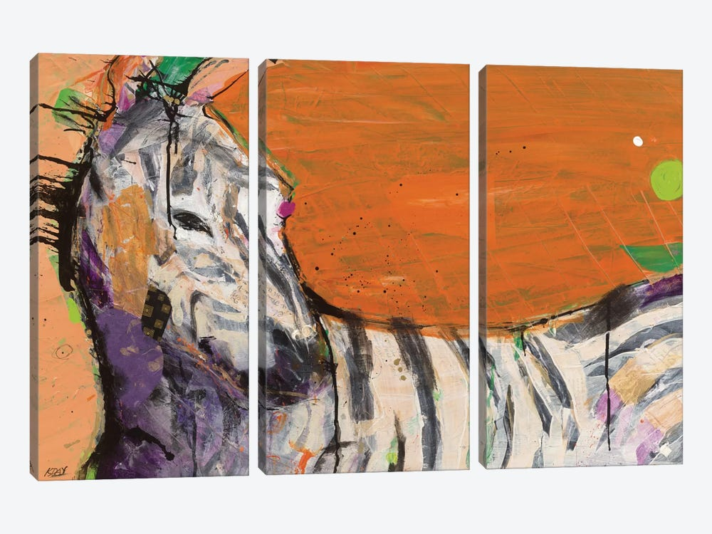 Zebra by Kellie Day 3-piece Art Print