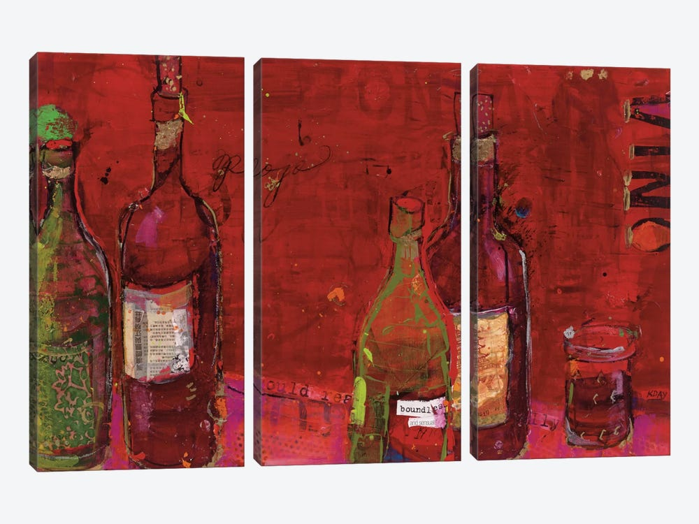Vino Rojo by Kellie Day 3-piece Art Print