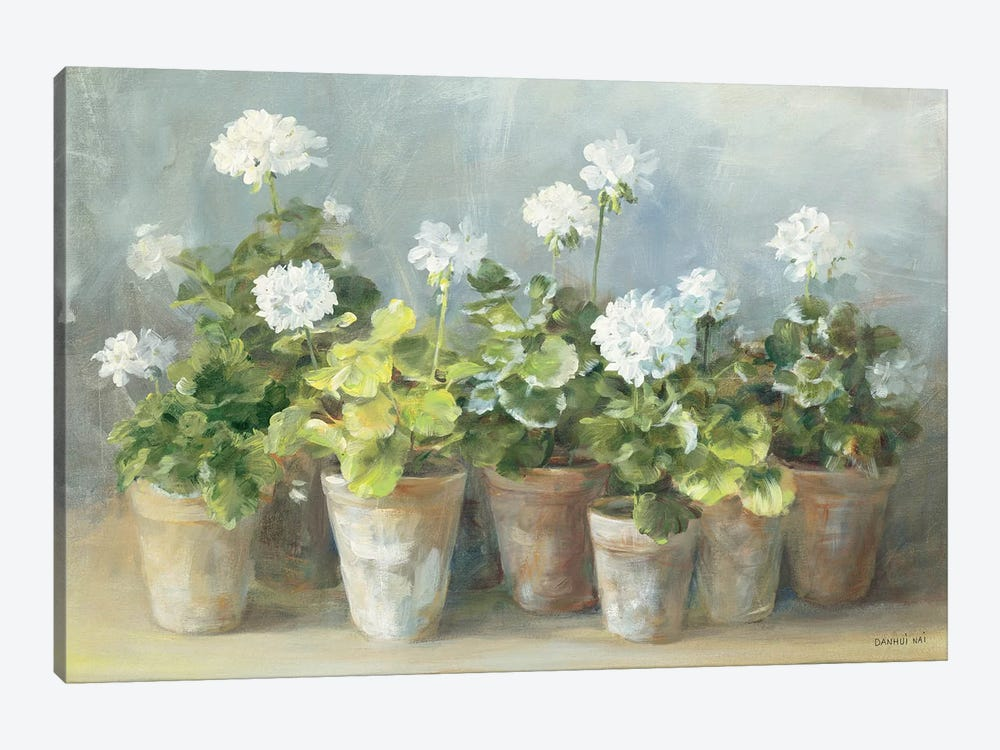 White Geraniums by Danhui Nai 1-piece Canvas Art