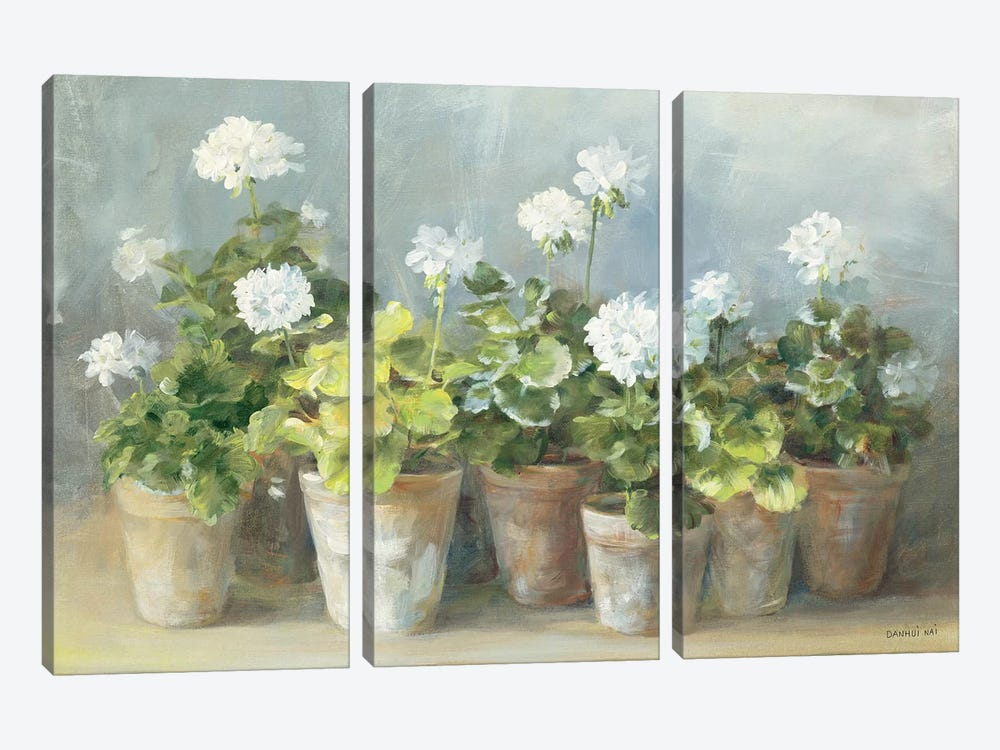 White Geraniums by Danhui Nai 3-piece Canvas Art
