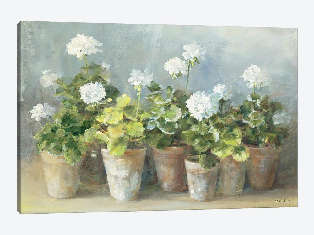 White Geraniums by Danhui Nai 1-piece Canvas Art