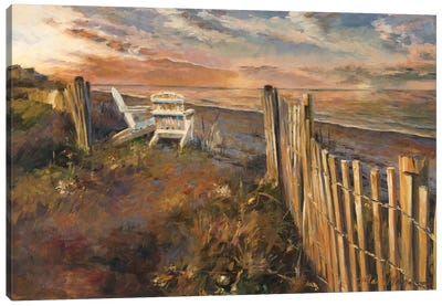 The Beach at Sunset Canvas Art Print