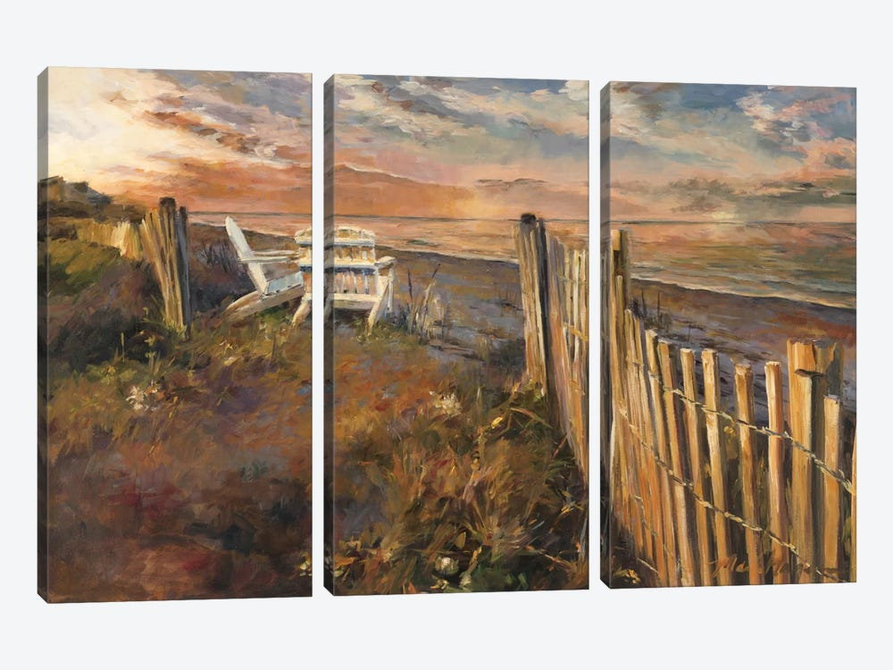 The Beach at Sunset 3-piece Art Print