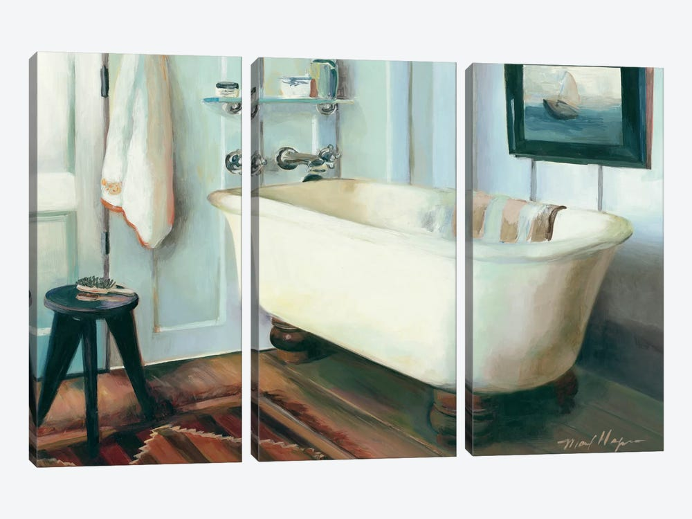 Cape Cod Cottage Tub by Marilyn Hageman 3-piece Canvas Art Print