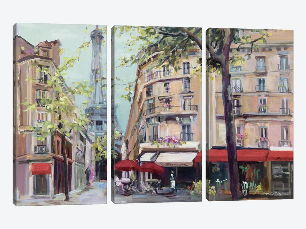 Springtime in Paris 3-piece Canvas Wall Art