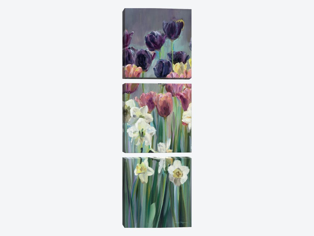 Grape Tulips Panel II by Marilyn Hageman 3-piece Canvas Art Print