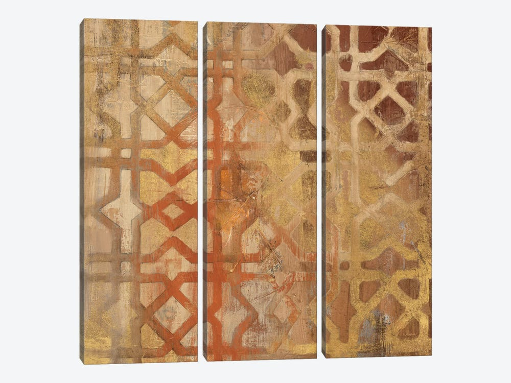 Gilded Trellis I 3-piece Canvas Art Print