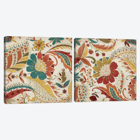 Boho Paisley Spice Diptych Canvas Print Set #WAC2HSET008} by Wild Apple Portfolio Canvas Artwork