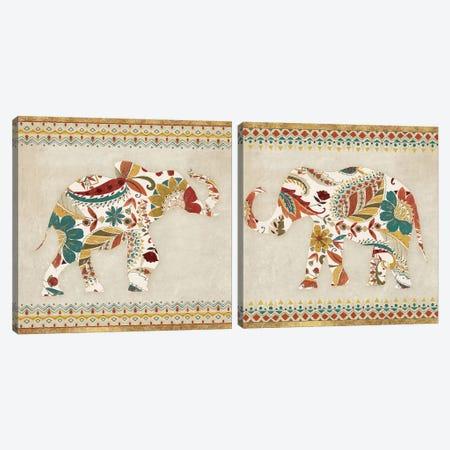 Boho Elephant Diptych Canvas Print Set #WAC2HSET010} by Wild Apple Portfolio Art Print