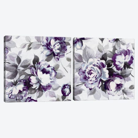Scent of Plum Roses Diptych Canvas Print Set #WAC2HSET011} by Wild Apple Portfolio Canvas Print