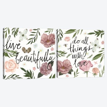 Live Beautifully Diptych Canvas Print Set #WAC2HSET013} by Sara Zieve Miller Canvas Print