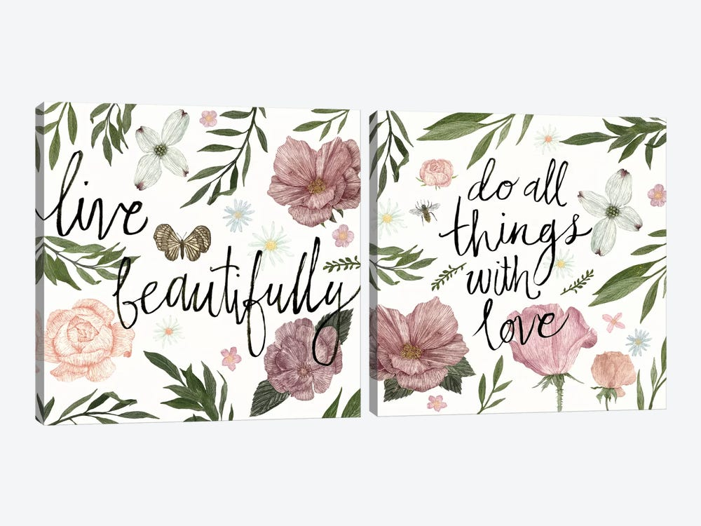 Live Beautifully Diptych by Sara Zieve Miller 2-piece Art Print