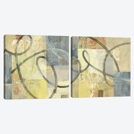 Ribbon Dance Diptych Canvas Print Set #WAC2HSET023} by Albena Hristova Canvas Art