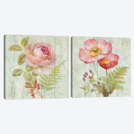 Natural Flora Diptych Canvas Print Set #WAC2HSET027} by Danhui Nai Canvas Art Print