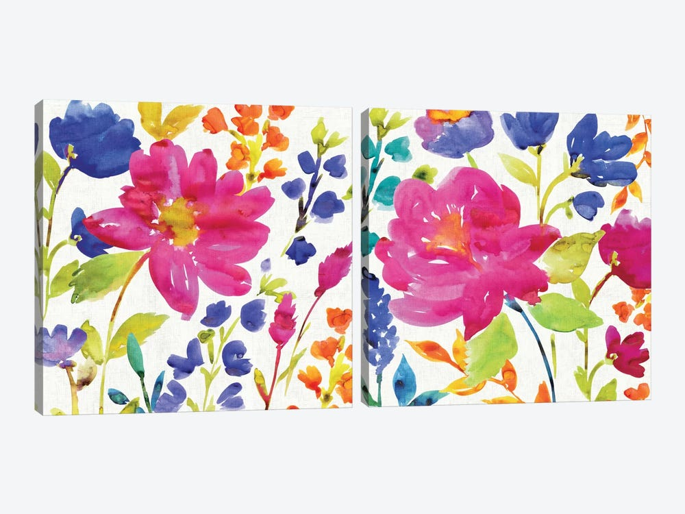 Floral Medley Diptych by Wild Apple Portfolio 2-piece Canvas Artwork