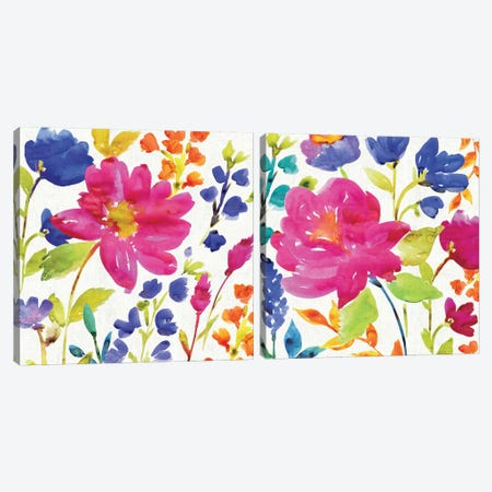 Floral Medley Diptych Canvas Print Set #WAC2HSET029} by Wild Apple Portfolio Canvas Art