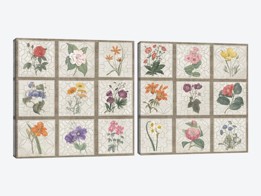 Monument Etching Tile Flowers Square Diptych by Wild Apple Portfolio 2-piece Canvas Wall Art