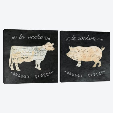Les Animals Cameo Diptych Canvas Print Set #WAC2HSET038} by Courtney Prahl Art Print