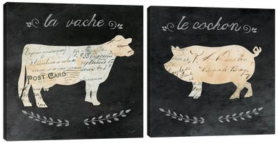 Les Animals Cameo Diptych Canvas Art Print