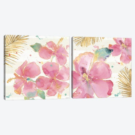 Flamingo Fever Diptych Canvas Print Set #WAC2HSET040} by Anne Tavoletti Canvas Art