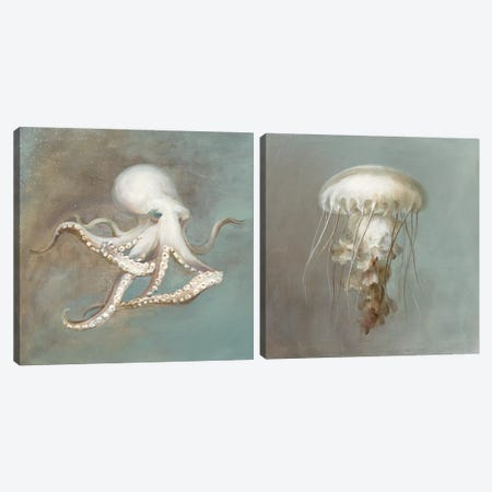 Teasures from the Sea DIptych Canvas Print Set #WAC2HSET042} by Danhui Nai Canvas Artwork