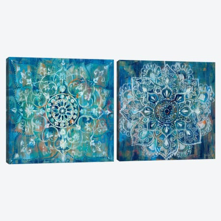 Mandala in Blue Diptych Canvas Print Set #WAC2HSET060} by Danhui Nai Canvas Wall Art