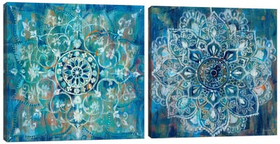 Mandala in Blue Diptych Canvas Art Print