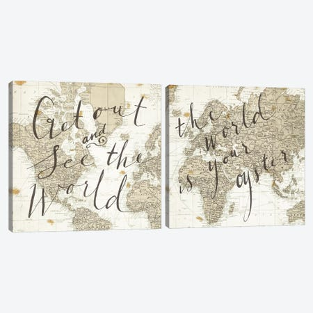 The World Maps Diptych Canvas Print Set #WAC2HSET070} by Sara Zieve Miller Art Print