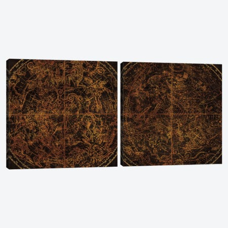 Celestial Sphere Vintage Diptych Canvas Print Set #WAC2HSET071} by Wild Apple Portfolio Canvas Print