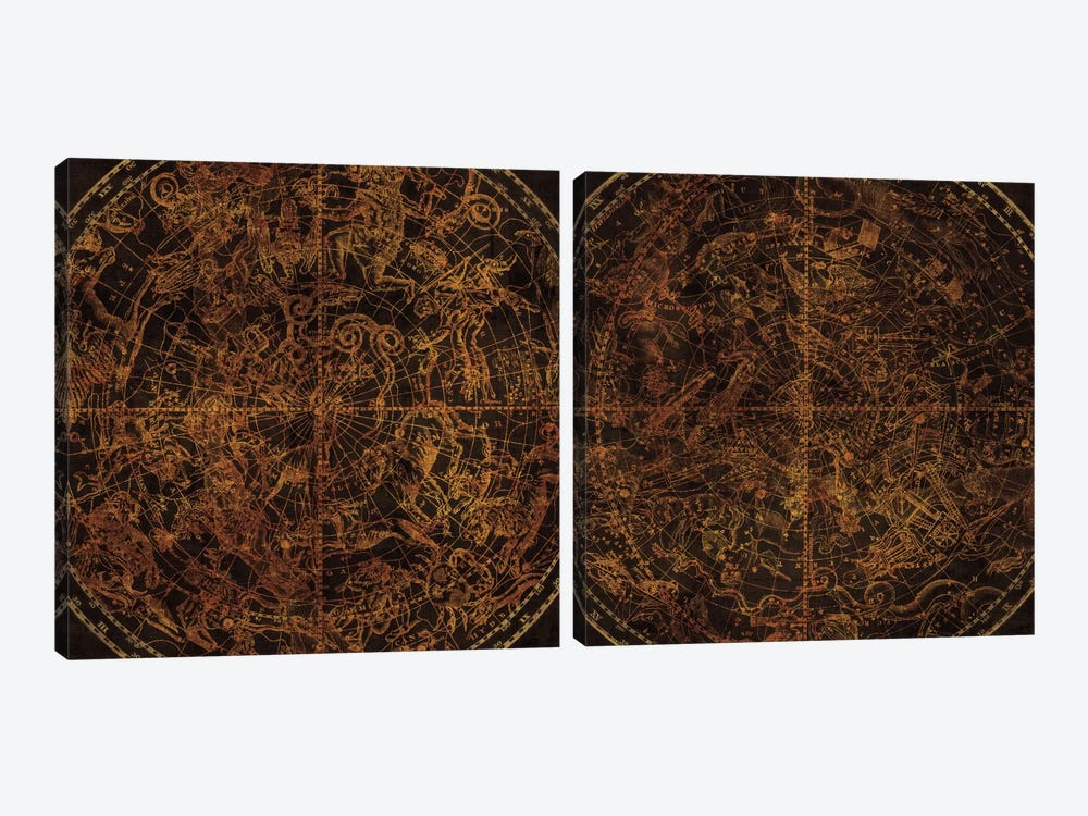 Celestial Sphere Vintage Diptych by Wild Apple Portfolio 2-piece Canvas Print