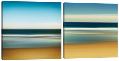 Sea Stripes Diptych Canvas Art Print