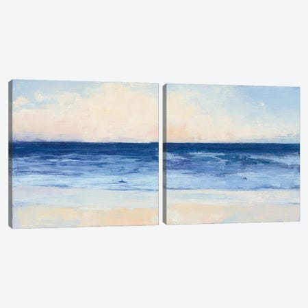 True Blue Ocean Diptych Canvas Print Set #WAC2HSET079} by Julia Purinton Art Print