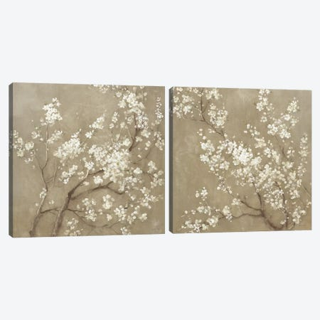 White Cherry Blossoms Diptych Canvas Print Set #WAC2HSET085} by Danhui Nai Canvas Art Print