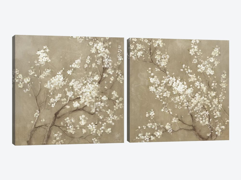 White Cherry Blossoms Diptych by Danhui Nai 2-piece Canvas Art