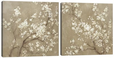 White Cherry Blossoms Diptych Canvas Art Print