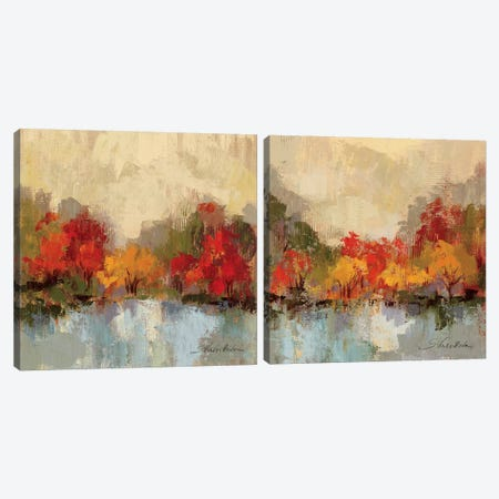Fall Riverside Diptych Canvas Print Set #WAC2HSET095} by Silvia Vassileva Canvas Artwork