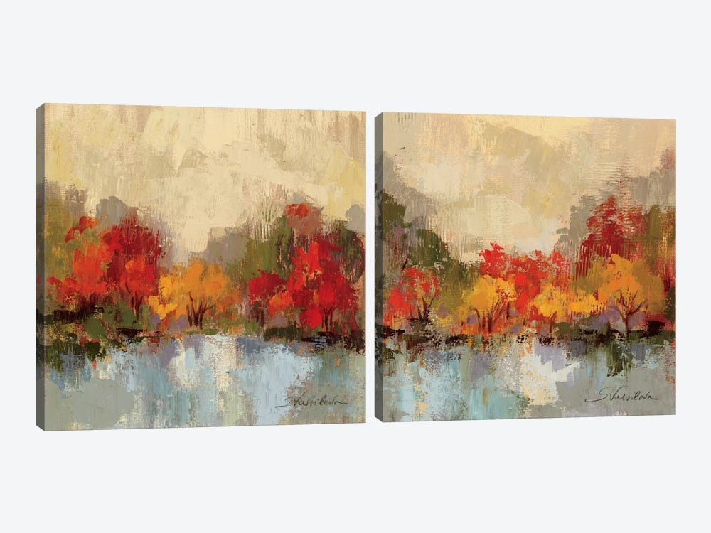 Fall Riverside Diptych by Silvia Vassileva 2-piece Art Print