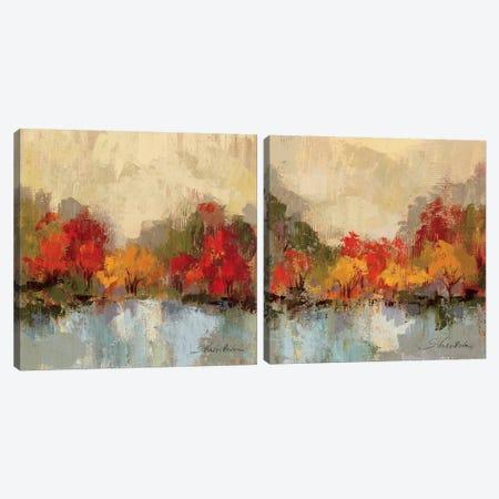 Fall Riverside Diptych Canvas Print Set #WAC2HSET095} by Silvia Vassileva Canvas Artwork
