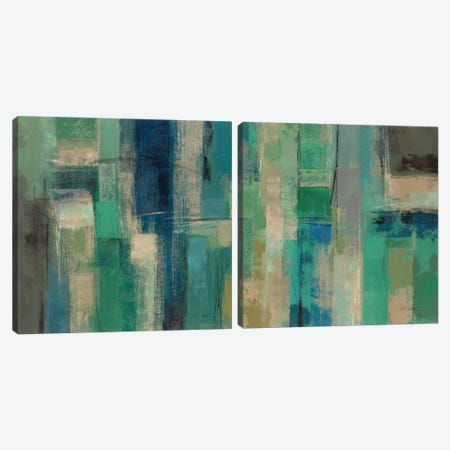 Emerald Fields Diptych Canvas Print Set #WAC2HSET096} by Silvia Vassileva Canvas Artwork