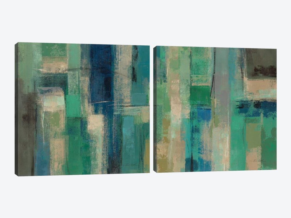 Emerald Fields Diptych by Silvia Vassileva 2-piece Canvas Wall Art
