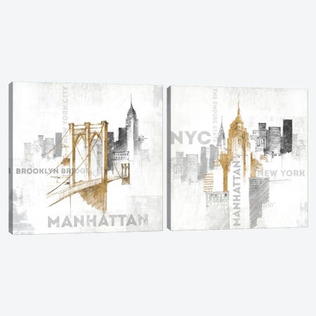 New York City Diptych Canvas Print Set #WAC2HSET099} by All That Glitters Canvas Print
