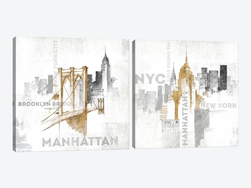 New York City Diptych by All That Glitters 2-piece Canvas Art Print