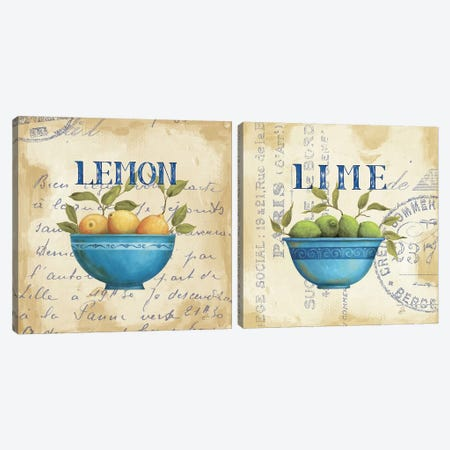 Lemon And Lime Diptych Canvas Print Set #WAC2HSET104} by Daphne Brissonnet Canvas Wall Art