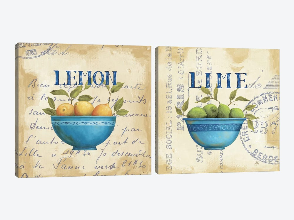 Lemon And Lime Diptych by Daphne Brissonnet 2-piece Canvas Wall Art