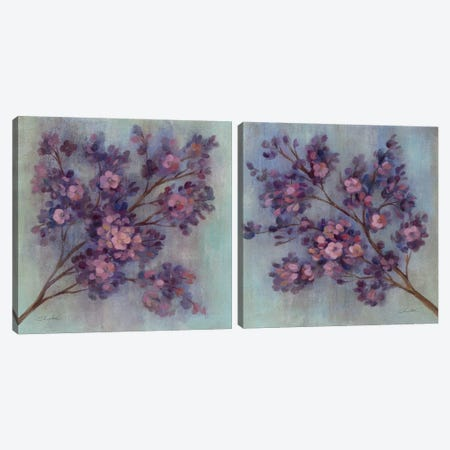 Twilight Cherry Blossoms Diptych Canvas Print Set #WAC2HSET115} by Silvia Vassileva Canvas Print