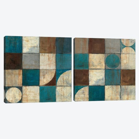 Tango Blue & Brown Diptych Canvas Print Set #WAC2HSET118} by Mike Schick Canvas Art