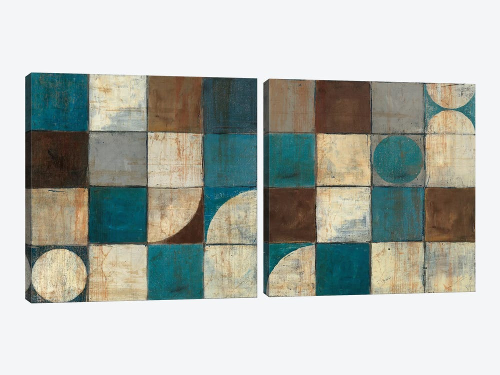 Tango Blue & Brown Diptych 2-piece Art Print