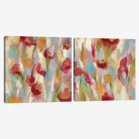 Breezy Floral Diptych Canvas Print Set #WAC2HSET122} by Silvia Vassileva Canvas Print