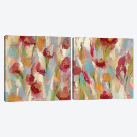 Breezy Floral Diptych Canvas Print Set #WAC2HSET122} by Silvia Vassileva Canvas Print