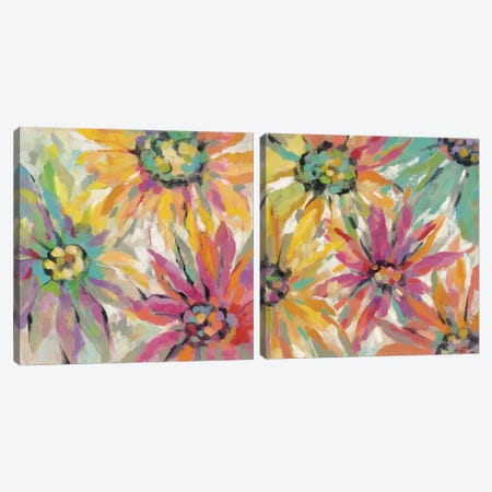 Abstracted Petals Diptych Canvas Print Set #WAC2HSET123} by Silvia Vassileva Canvas Art Print